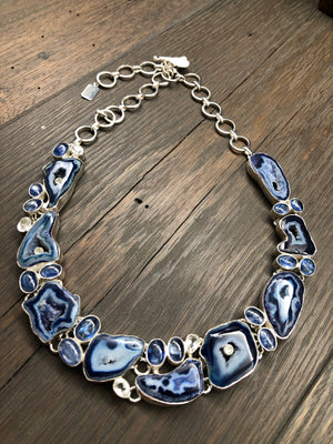 Blue agate, kyanite, quartz mosaic necklace
