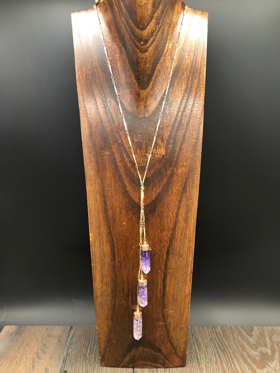 "Amethyst crackle quartz ""Waterfall"" lariat necklace - gold"