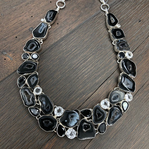 Black agate/onyx statement necklace