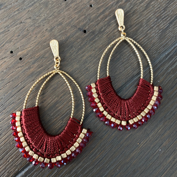 Thread wrapped and beaded earrings - silver and gold