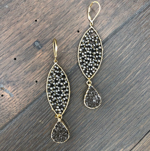 Hematite disc mixed metallic druzy earrings