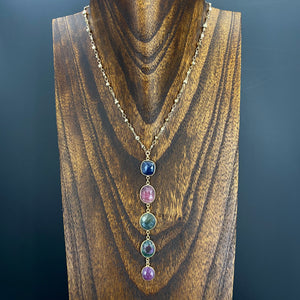 Corundum sapphire and ruby lariat necklace - gold