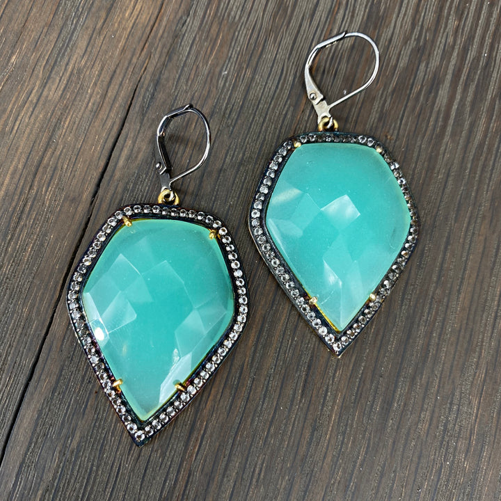 Seafoam chalcedony, white topaz earrings - gunmetal