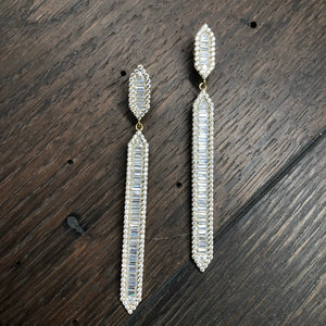 Art Deco baguette row bar earrings
