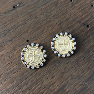 Small cross coin stud earrings - brushed gold and gunmetal