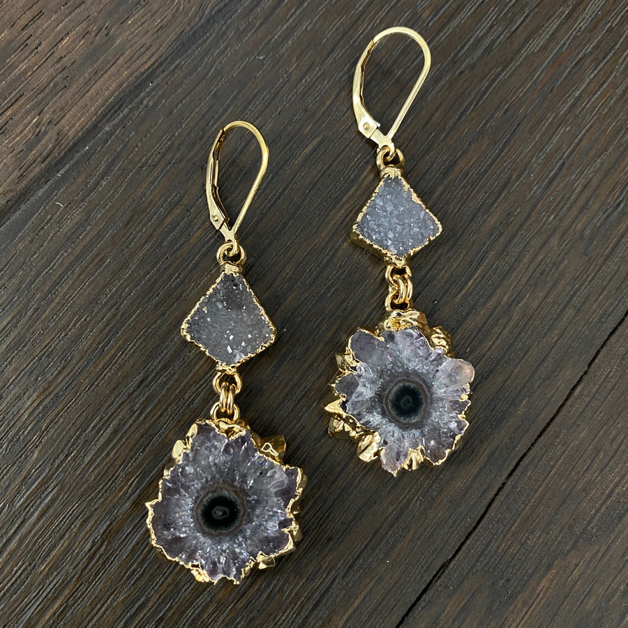 Druzy jasper stalactite combo earrings - gold