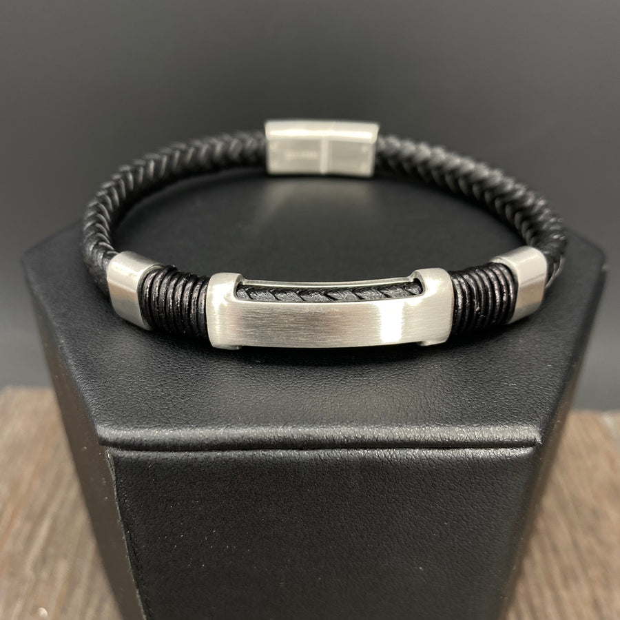 "Braided vegan leather ""H"" accent bracelet - brushed silver"
