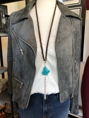 PREORDER - Braided leather necklace with turquoise nugget