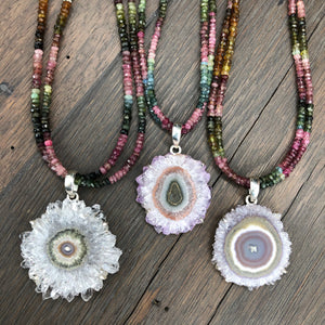 Watermelon tourmaline and amethyst stalactite slice necklace