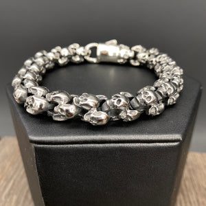 Skull wrapped bracelet - silver and black