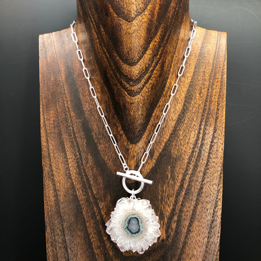 Wrap and toggle amethyst jasper flower stalactite slice necklace - silver