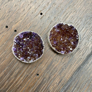 "Druzy ""button"" stud earring - silver"