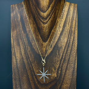 """Tiny toggle"" wrap and toggle pavé cz star necklace - gunmetal and gold"