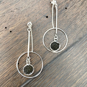 Three way geometric hoop earrings with druzy accent - sterling silver