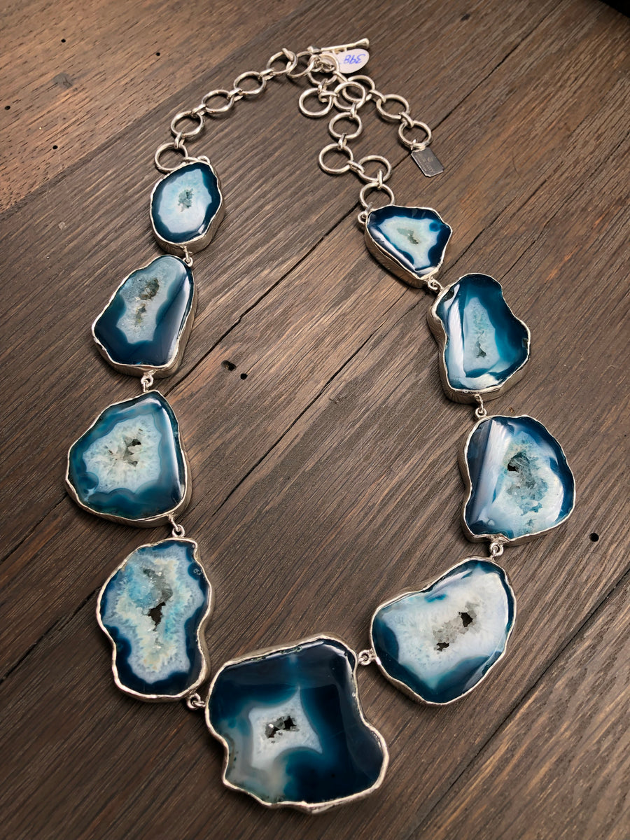 Teal agate slice necklace