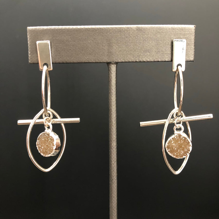 Sculptural, geometric earrings with druzy accent - silver