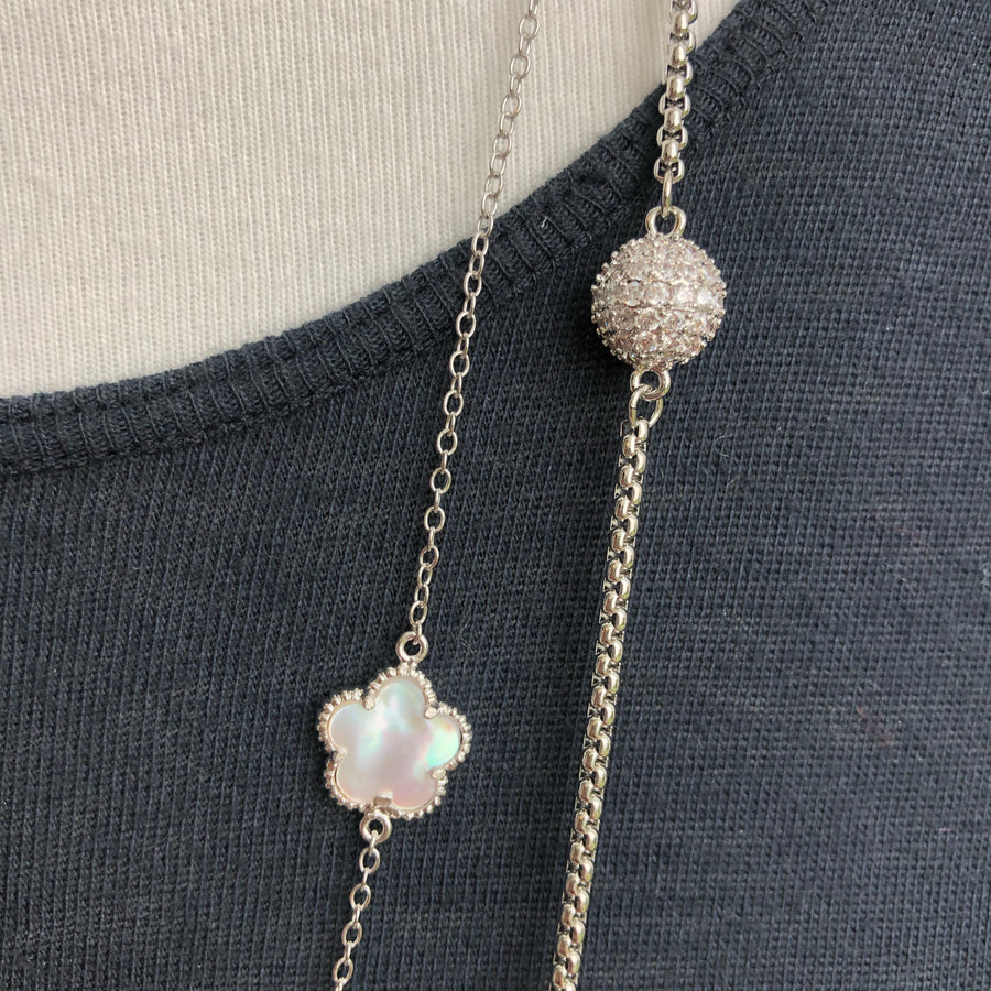 Mother of pearl flower and pavé cz ball double strand necklace