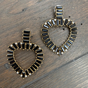 Abstract heart cz baguette earrings - gold