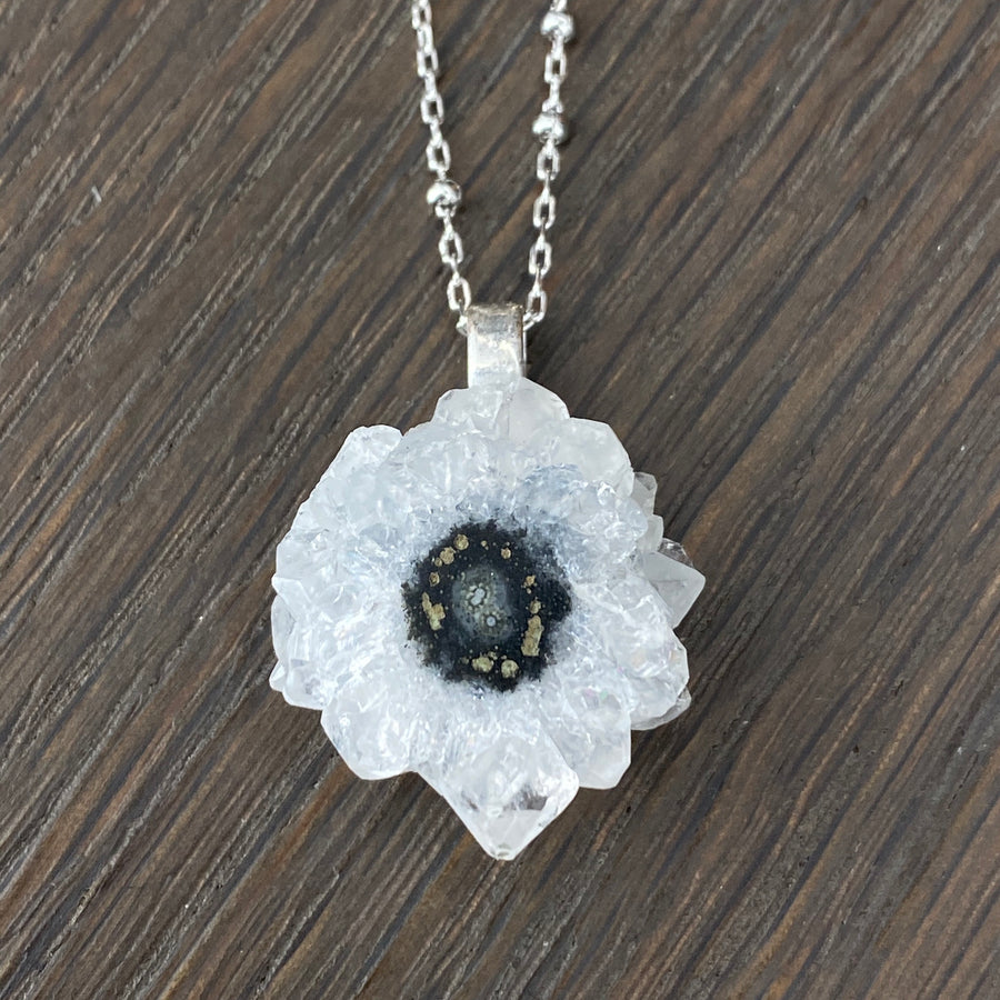 Tiny crystal edged, amethyst stalactite necklace