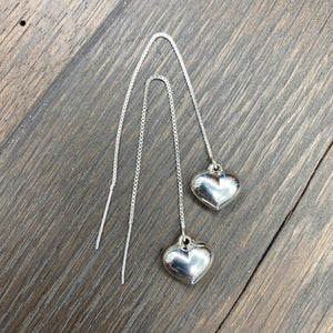 .925 sterling silver puffy heart thread earrings - silver