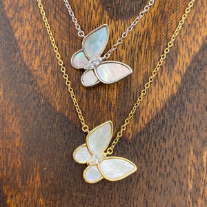 Mother-of-pearl tilted butterfly layering necklace