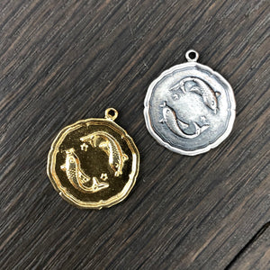 Zodiac coin and pavé crescent moon overlay necklace