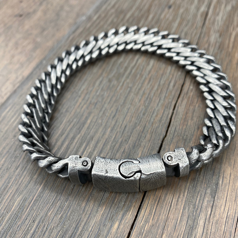 Woven chain bracelet - antiqued pewter