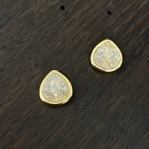 Teardrop druzy stud earrings - gold, silver