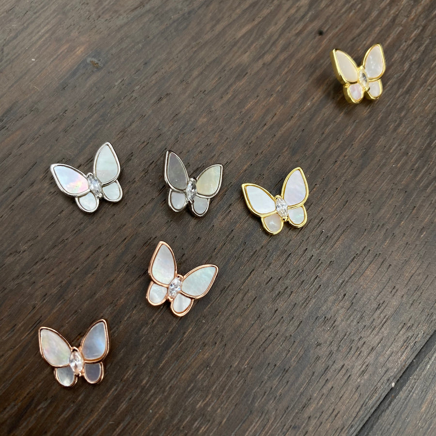 Mother-of-pearl butterfly stud earrings - silver, gold, rose gold