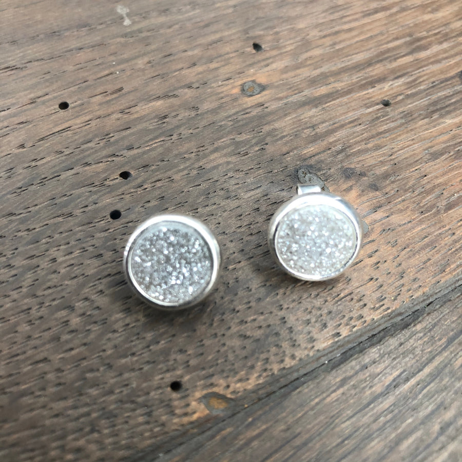 Coated druzy bezel set stud earrings
