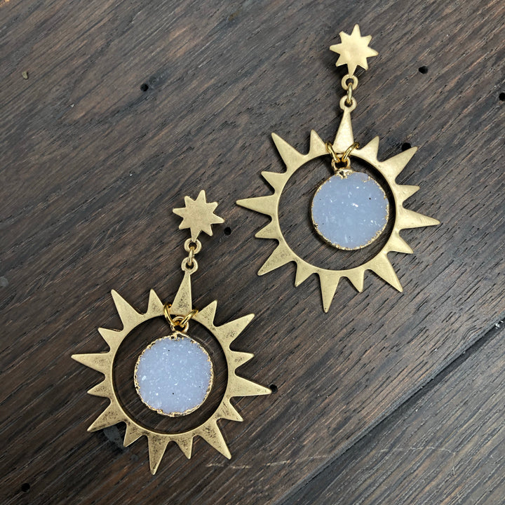 Ray of light druzy drop earrings - gold