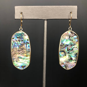 Abalone crest plate earring - gold