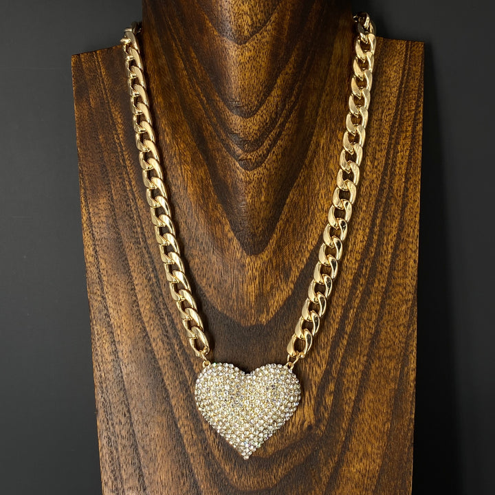XL pavé crystal heart necklace and earring set - gold