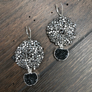 Pebble Disc earrings with druzy drops - silver