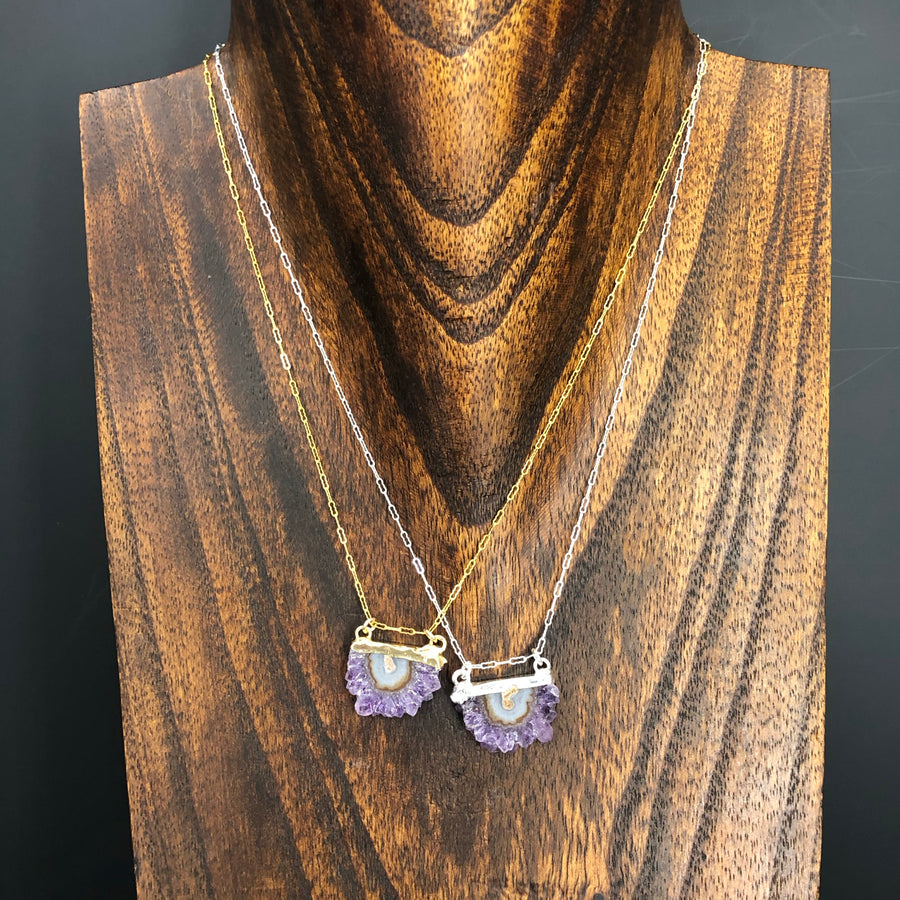 Tiny half amethyst stalactite slice necklace