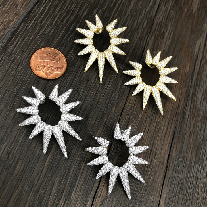 Pavé cz star burst earrings - silver, gold, gunmetal