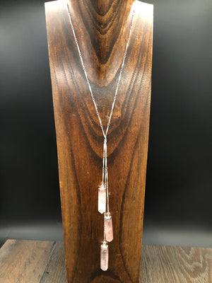 "Rose quartz ""waterfall"" lariat necklace - silver"