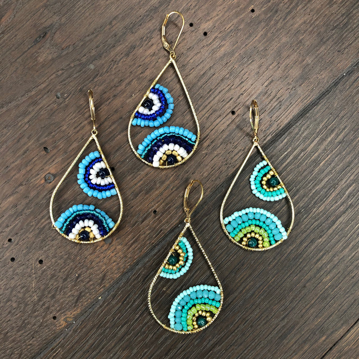 Paisley pattern seed bead teardrop earrings