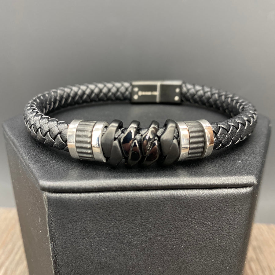 Vegan leather braided bracelet - silver and gunmetal