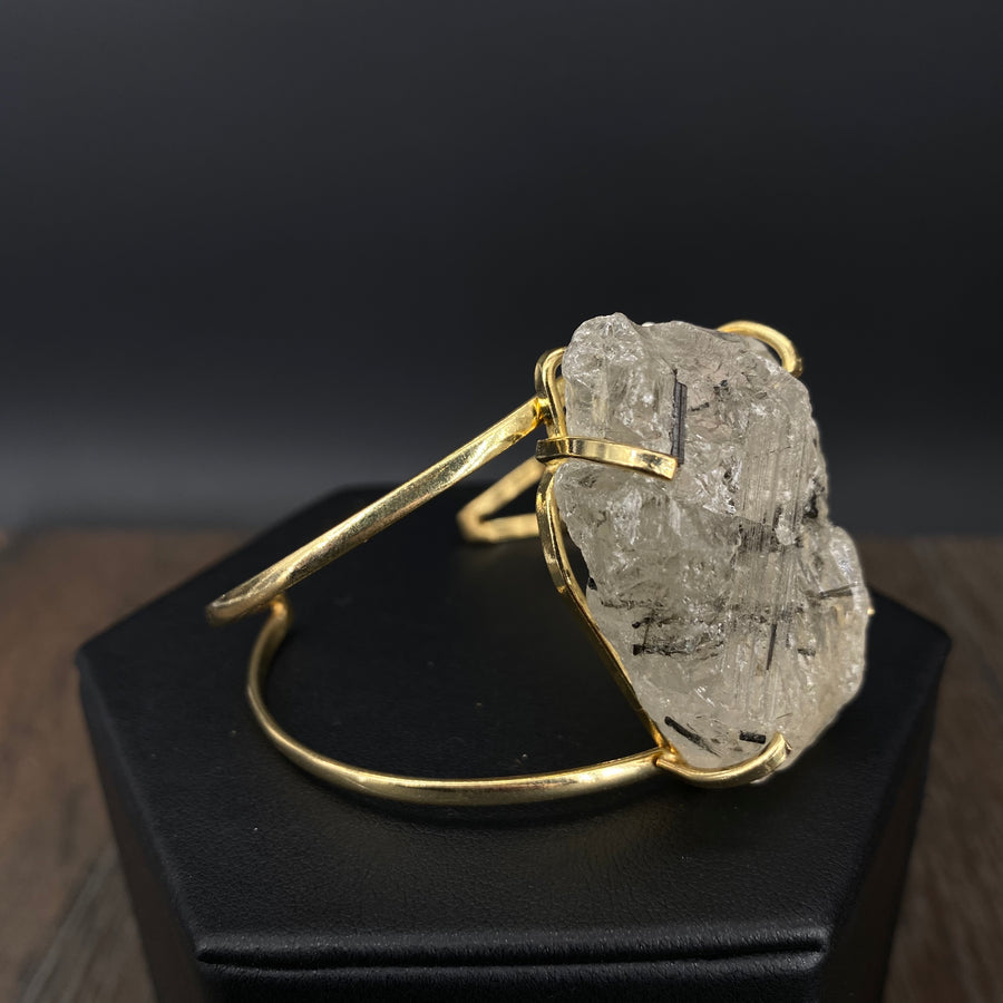 Tourmalated quartz cluster cuff bracelet - gold