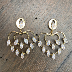 Marquis cz accented heart earrings - silver and gold