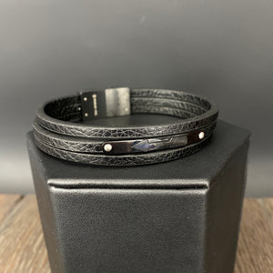 Men's triple strand vegan leather arrow bracelet - gunmetal