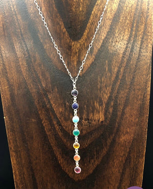 PREORDER - Dainty seven chakra stone lariat necklace - silver and gold