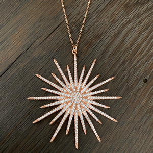 Rainbow moonstone, bezel cz and pavé cz sunburst necklace