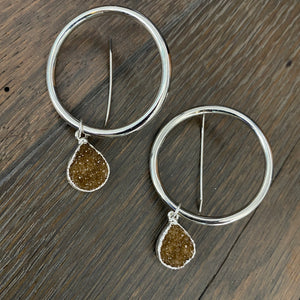 Large hoop with druzy accent - silver