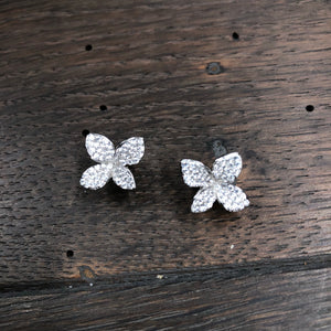 Tiny pavé cz 3D flower stud earrings