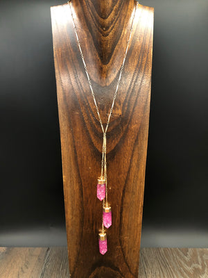 "Raspberry crackle quartz ""Waterfall"" lariat necklace - gold"