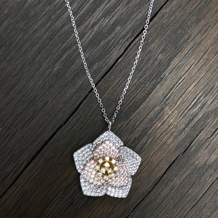 Mixed metal pavé cz 3D pansy necklace