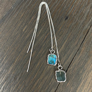 Gemstone free form tab thread earrings - sterling silver