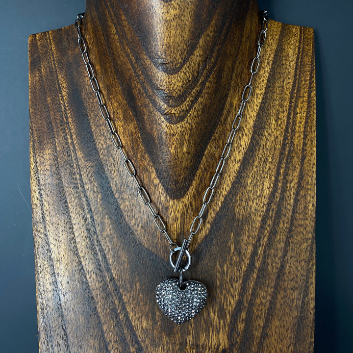 """Wrap and Toggle"" reversible black pavé puffed heart necklace - gunmetal"